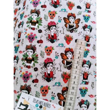 Telas baratas, tela de calaveras, tela Frida Kahlo, tela de catrinas, tela mascarillas, tienda de telas, telas online, tela por